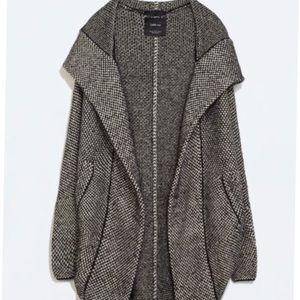 Zara Cocoon Hoodie Sweater Cardigan